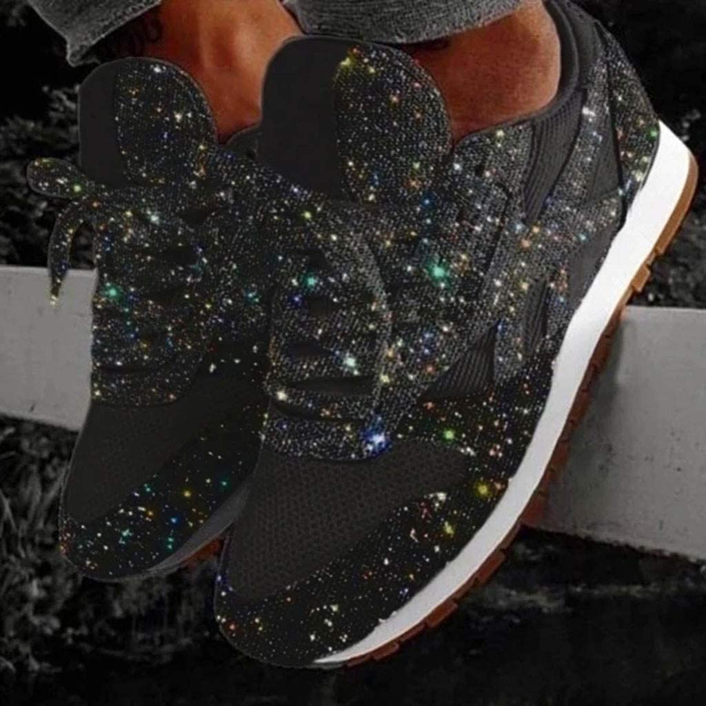 Shoes Womens Sport Trainers Breathable Crystal Bling Lace Up Running Sneakers Shoes