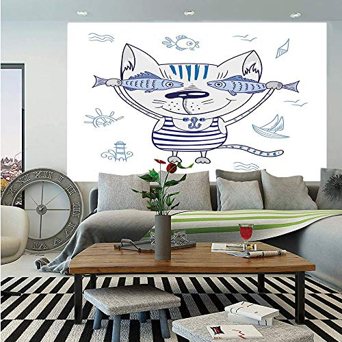 Vintage Wallpaper Print Shirt - SoSung Ocean Animal Decor Removable Wall Mural,Naughty Cat with Fish in Striped T Shirt Anchor Pendant and Nautical Sign,Self-Adhesive Large Wallpaper for Home Decor 66x96 inches,Blue Grey