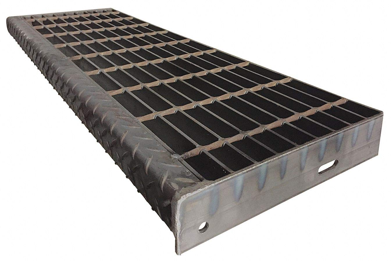 Carbon Steel Smooth Surface Bar Grating Stair Tread, 36'' Width, 9.75'' Depth, 2'' Height