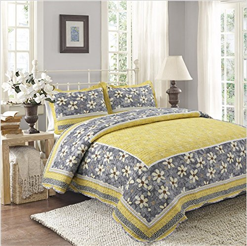 寝具セットラグジュアリーベッドカバー、100%コットンイエローフラワーパターンハンドメイドパッチワークキルトベッドカバーシート掛け布団(大サイズ/クイーン) B07QJ3MFFC