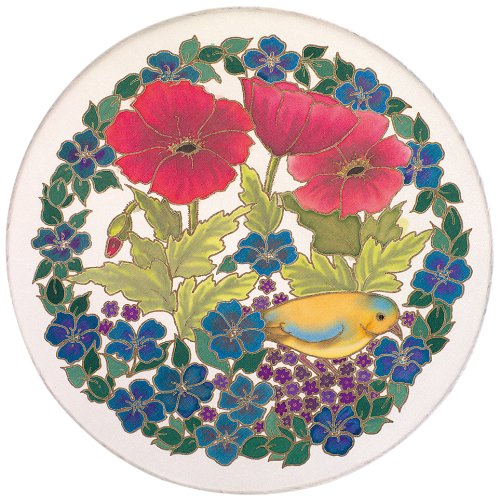 Pebeo 25 cm Silk Suncatcher with Metal Frame Bird and Flower Gold Pattern, White SGM1