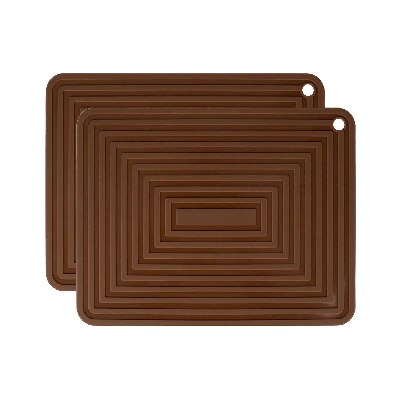 "IPHOX 2 Set Silicone Trivet Mats/Hot Pads, Pot Holder, 9""x12"" Non Slip Flexible Durable Heat Resistant Pot Coaster Kitchen Table Mats (Brown)"