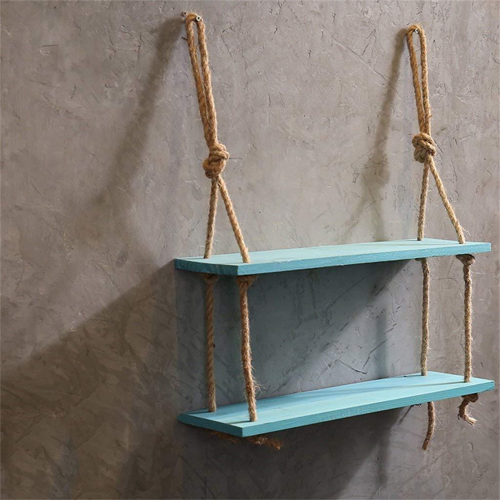 HhGold Mensole in corda di canapa Mensola a parete in legno appesa per soggiorno come scaffale di stoccaggio Decorazioni per parete a parete Design blu (Dimensioni: 3 livelli)