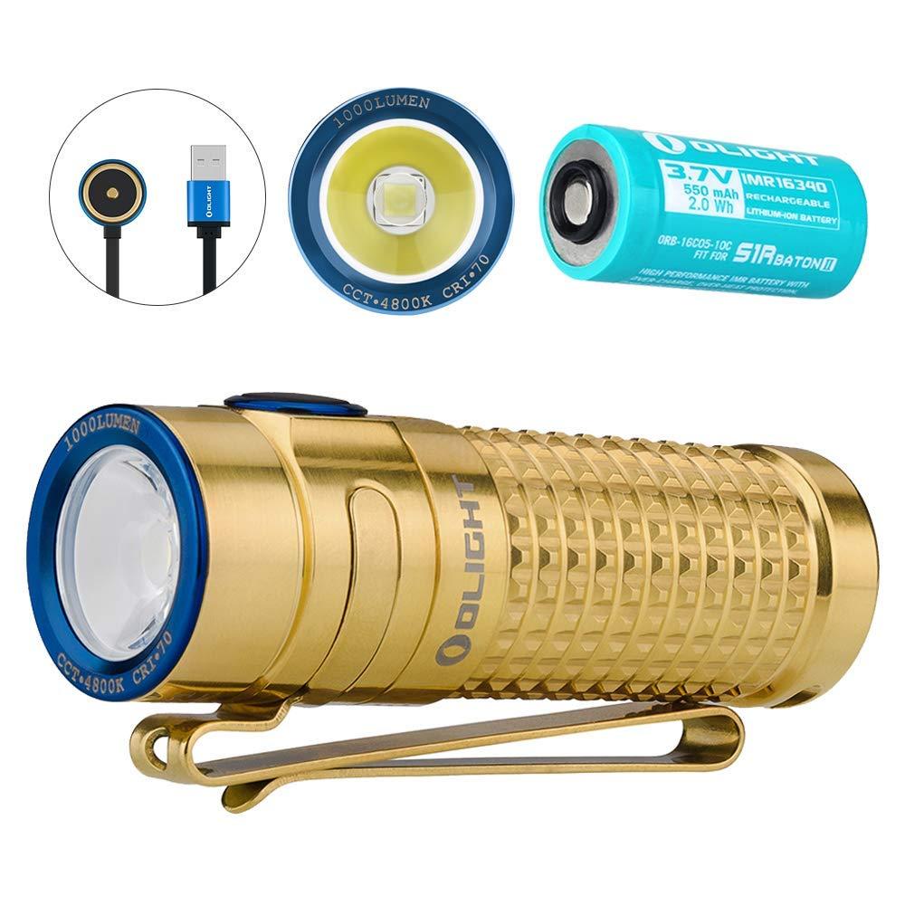 Autumn  Olumière S1R Baton II Lampe Torche EDC Rechargeable 1000 LuPour des hommes Portée de 145 Mètres, Chargeur MCC II Efficace, Mode Turbo Stroboscope et Lecture Possible, Mini Lampe de Poche étanche