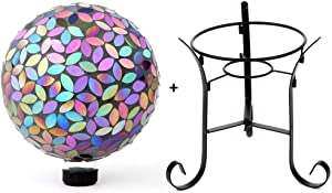 Lily's Home Colorful Mosaic Glass Gazing Ball, Designed with a Stunning Holographic Petal Mosaic Pattern with A 9-inch Tall Metal Stand