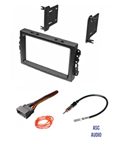 ASC Audio Car Stereo Install Dash Kit, Wire Harness, and Antenna Adapter to Add a Double Din Radio for some Chrysler Dodge Jeep with Factory Navigation- Important Compatibility and Vehicle Info Below