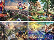 Ceaco Thomas Kinkade The Disney Dreams Collection 4 in 1 Multipack Aladdin, Winnie the Pooh, Beauty & the Beast, The Little