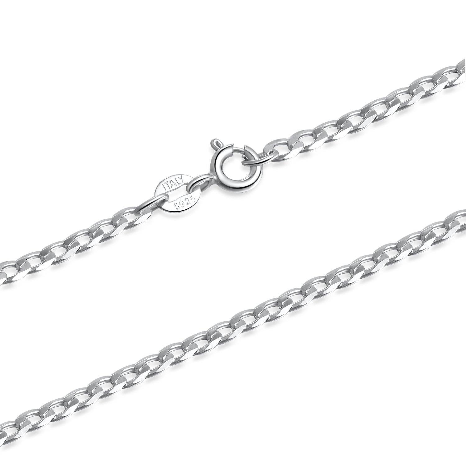SILBERTALE 925 Sterling Silver Flat Curb Cuban Link Chain Necklace 16 18 20 inch for Women Men 2.0 3.0 4.0 mm