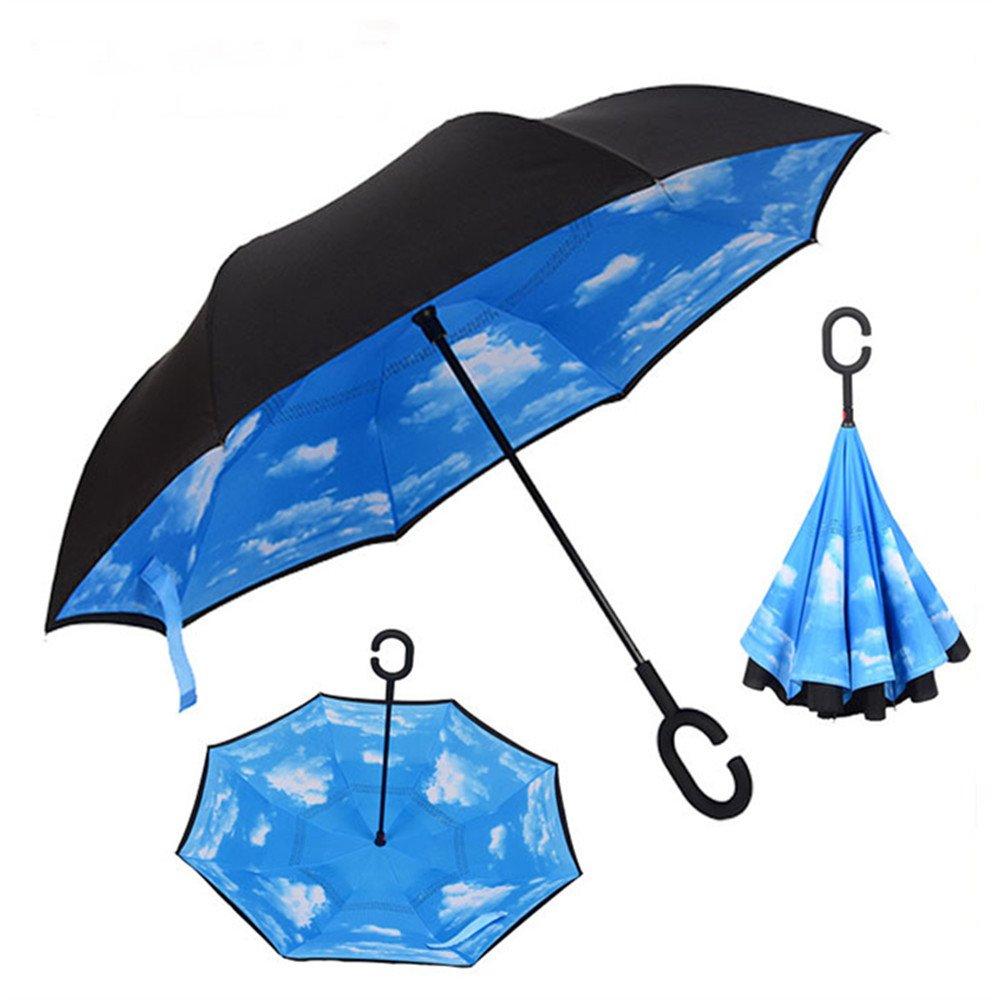 Ynebwcie Paraguas invertido Capa Doble Parasol para el Sol Lluvia ...