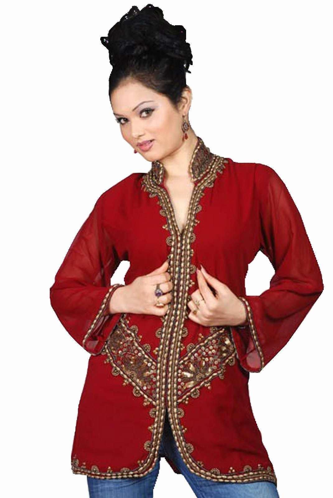 Indian Selections - Burgundy long sleeves Kurti/Tunic with jacket style beadwork - X-Large