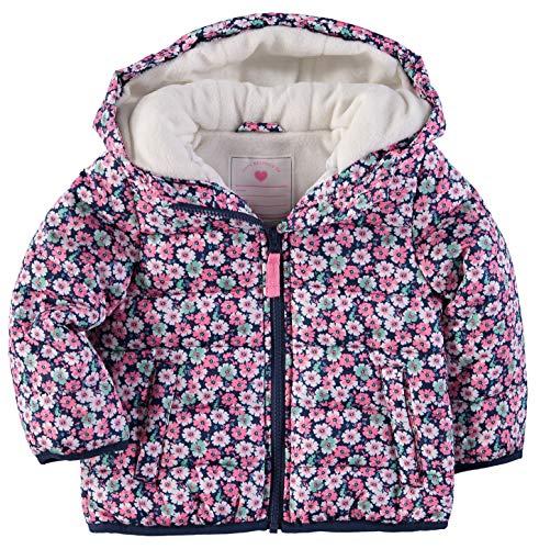 Carter's Toddler Girls' Fleece Lined Puffer Jacket Coat (4T, Ditsy Floral)