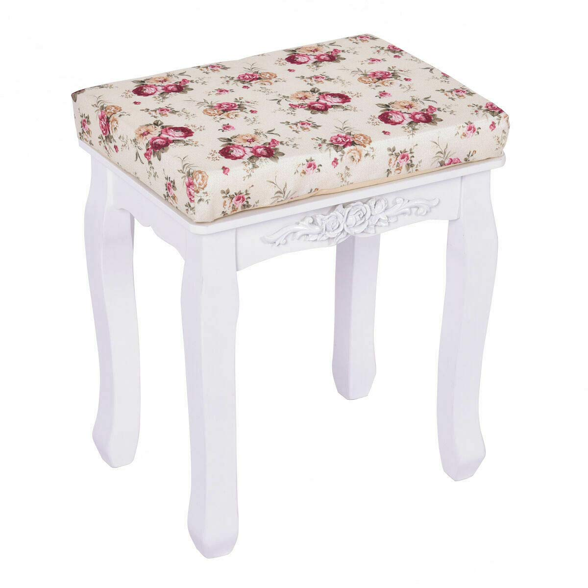 Adumly White Vanity Wood Dressing Stool Padded Chair Makeup Piano Seat with Cushion