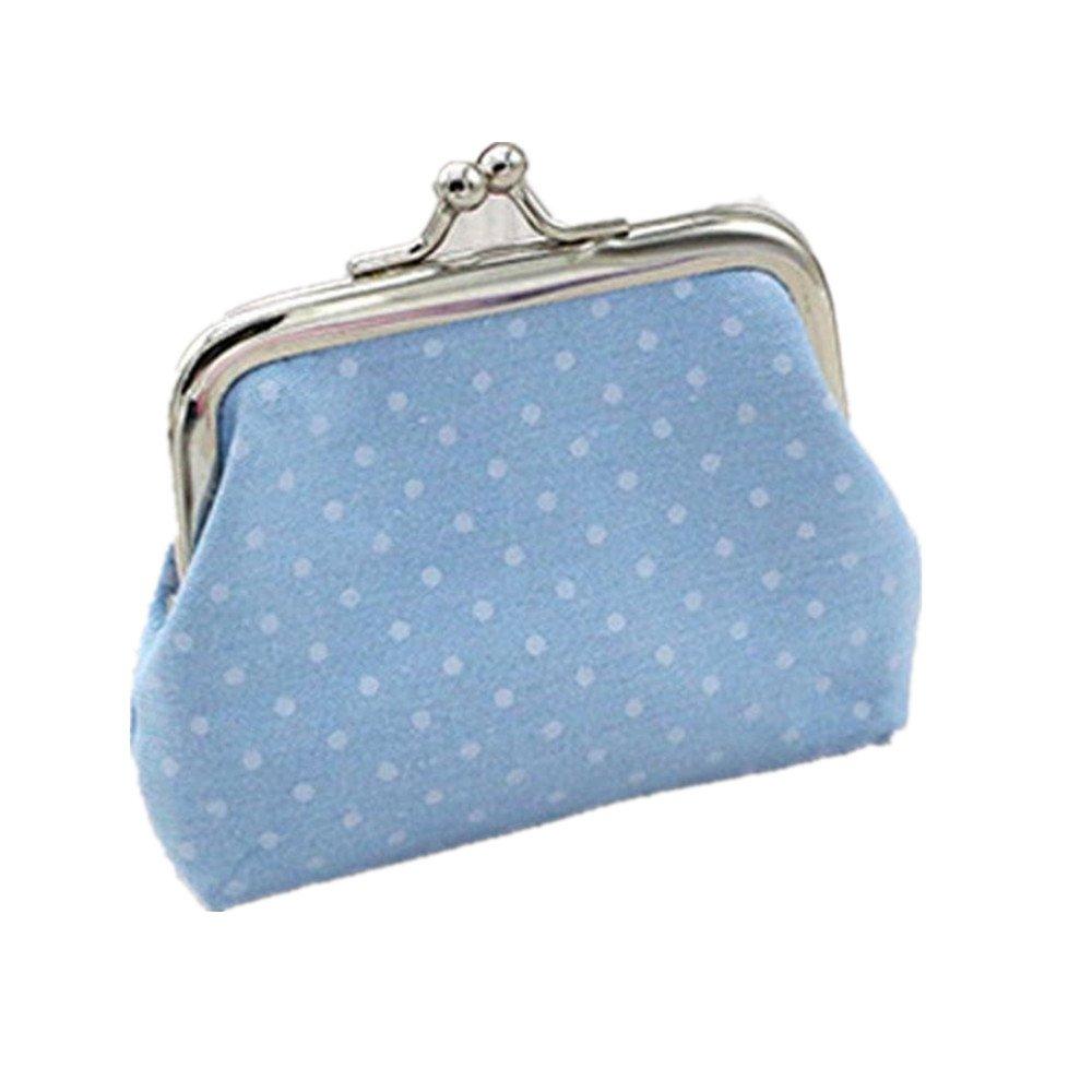 Womail Women Cute Hasp Retro Wallet Card Coin Change Holder Handbags (Blue)