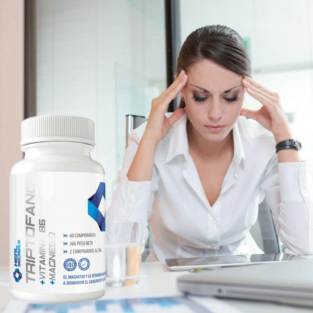 Triptofano Magnesio Vitamina B6 mejora tu estado animo 60 tabletas 600 mg. (300 mg x 2) Heal Secrets: Amazon.es: Salud y cuidado personal