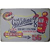 "AIQIBAO Metal Vintage Tin Sign Decor-Fuel Gas Station for Garage Bar Pub Shop Funny Retro Wall Art Sign 12"" X 8"""