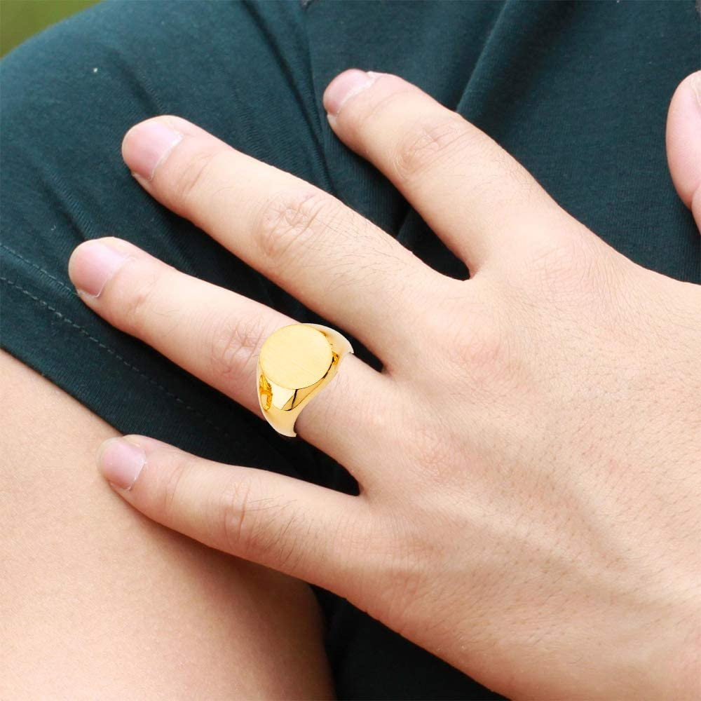14k Yellow Gold Men's Signet Ring for Men's - More Design Top2726