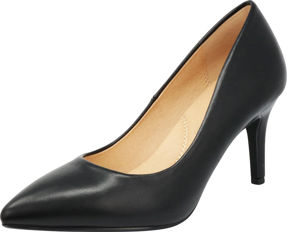 Cambridge Select Women's Classic Closed Pointed Toe Slip-On Padded Comfort Insole Stiletto Mid Heel Pump (7.5 B(M) US, Black PU)