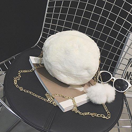 la Blanco bonito mujeres el de El lindo Morwind caramelo colorea felpa bolso bolso las hombro Negro de de 6TBqS