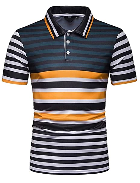 2bdd6d12835 CRYYU Men Contrast Short Sleeve Golf Polo Shirt Stripe Plus Size Athletic T- Shirt Tee at Amazon Men s Clothing store