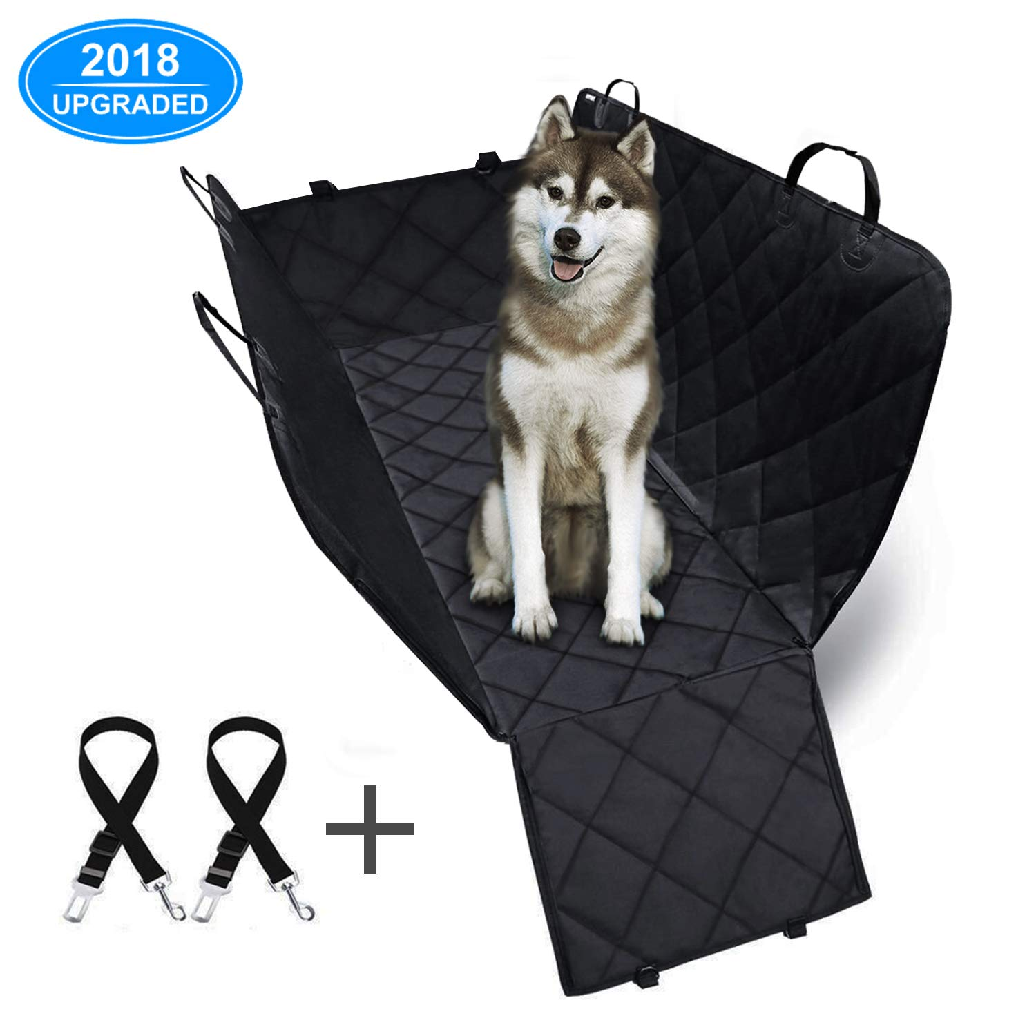 AFBEST Pet Car Seat Cover with side flaps, Dog Car Rear Seat Liner 600D Heavy Duty 100% Waterproof, Scratch-resistant Anti-Slip Durable Pet Seat Hammock for Cars Trucks and SUVs