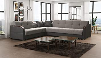 Futuro Extra Large Faux Leather And Fabric Corner Sofa Bed Couch