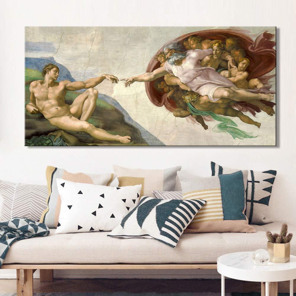 YCOLLC Lienzo de Pintura Fresco del Techo de Miguel Ángel ...