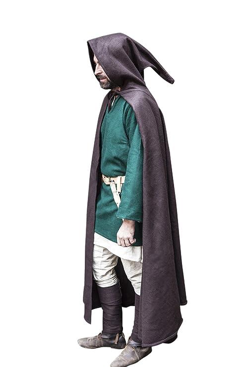 Medievale cappotto marrone mantello con cappuccio di lana del Capo ... bd47d95b571
