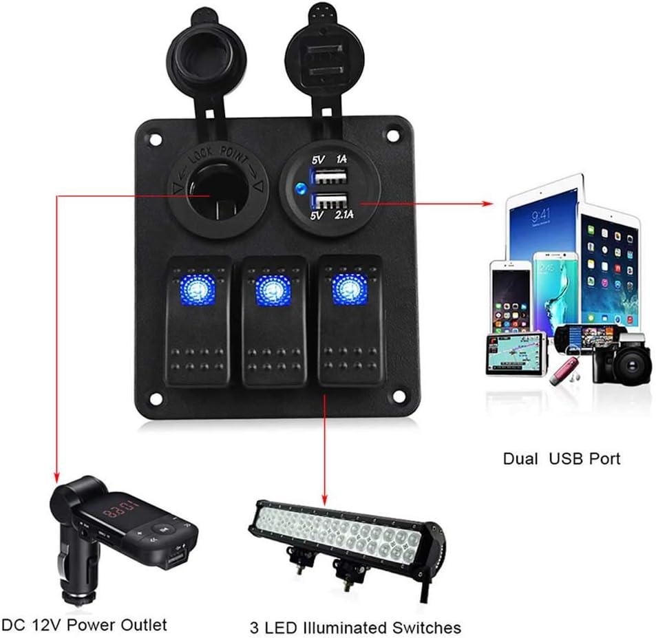 Car Marine Boat Rv 3 Gang LED Rocker Switch Panel Breaker Dual USB Power Charger