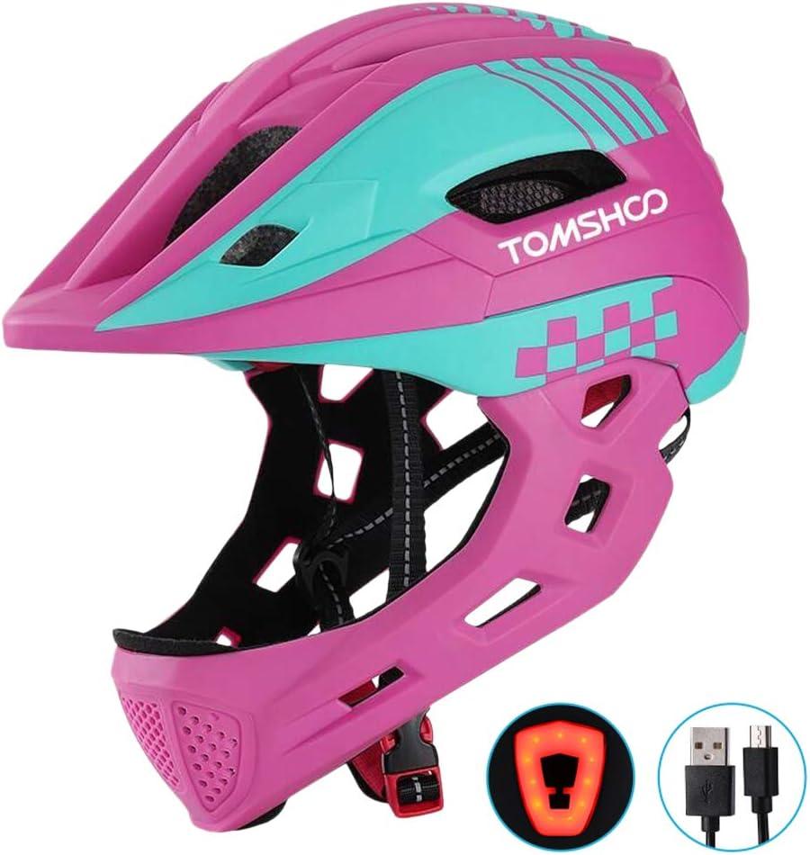 Tomshoo - Casco de bicicleta para niños, casco integral para la seguridad de los niños, monopatín, patinaje, casco deportivo, protección para la cabeza con luz trasera y barbilla extraíble