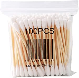 1000 Count Wooden Cotton Swabs, 2DXuixsh Eco-Friendly Round Double-headed Cotton Buds Wooden Sticks for Makeup/Ear Cleaning Personal Care, White