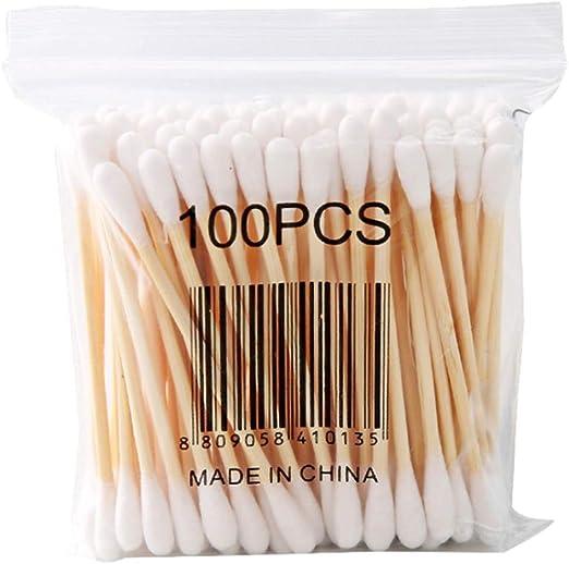 FBGood - Lote de 10 bastoncillos de algodón higiénico de algodón con Doble Punta de Madera – Bastones con Mango de Madera para el Maquillaje y Cuidado Limpio, 100 Unidades por Paquete, 10: Amazon.es: Hogar