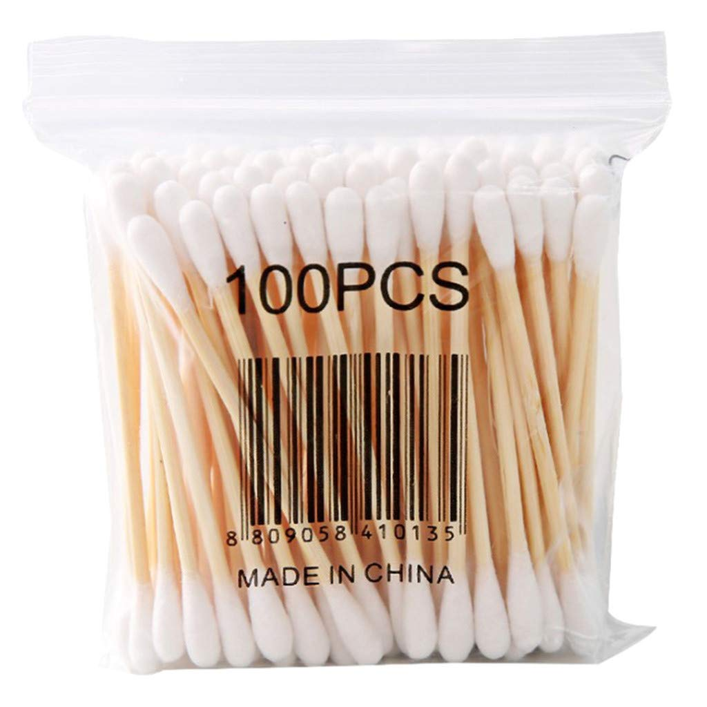 CakeLY Wooden Cotton Swabs 1000 pcs/Ultrathin Travel Cotton Buds - 10 Packs of 100pcs (White).