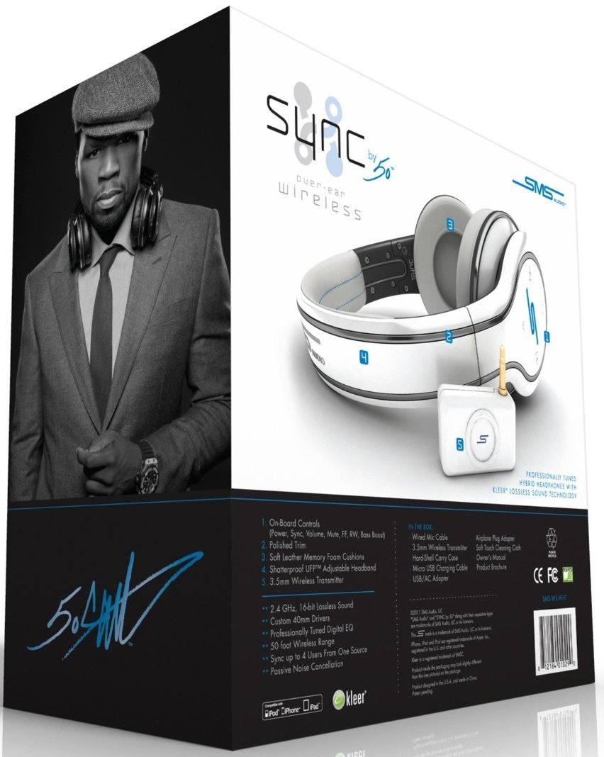 SMS Audio SYNC By 50 Cent Wireless Headphones (White), [Importado de Reino Unido]: Amazon.es: Electrónica