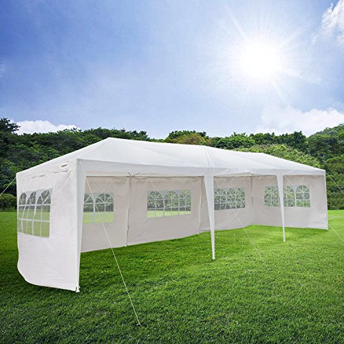 Mefeir 10'x30' Canopy Gazebo party wedding Tent with 5 Removable Panels Sidewalls, Sturdy Upgraded Thick Tube,Waterproof Sun Shelter Anti UV Protection for carport Outdoor Picnic Beach Backyard (10x20 White Party Tent Gazebo)