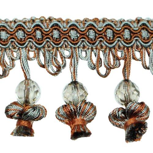 Expo International Stacia Onion Tassel Bead Fringe, 20-Yard, Copper/Seafoam