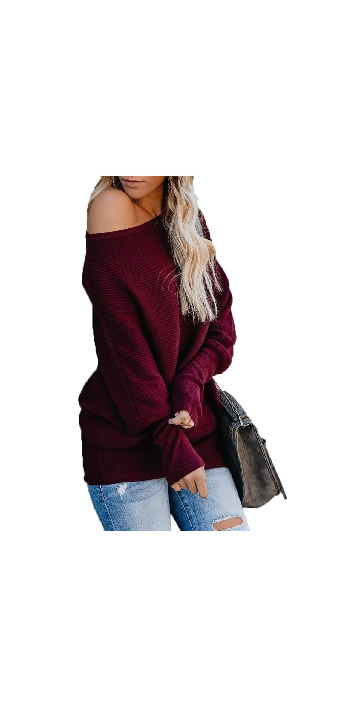 Women's Casual Bat Wing Sleeve Knitted One Shoulder