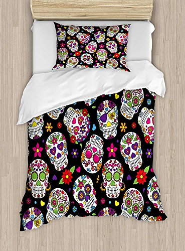 Full Bedding Sets for Boys,Sugar Skull Duvet Cover Set,Festive Graveyard Mexico Ritual Figures Mask Design on Black Backdrop Print,Cosy House Collection 4 Piece Bedding Setss
