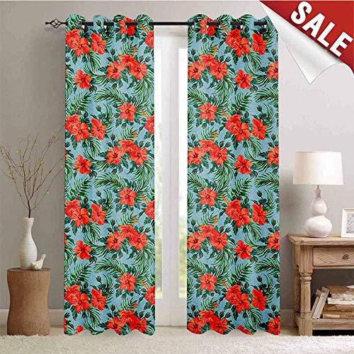Luau, Room Darkening Wide Curtains, Exotic Summer Bouquet