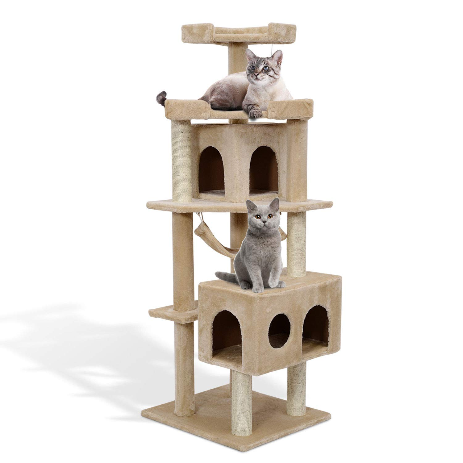 PawHut 65 2 Inch Cat Tree Scratching Post Pet Furniture with Condo
