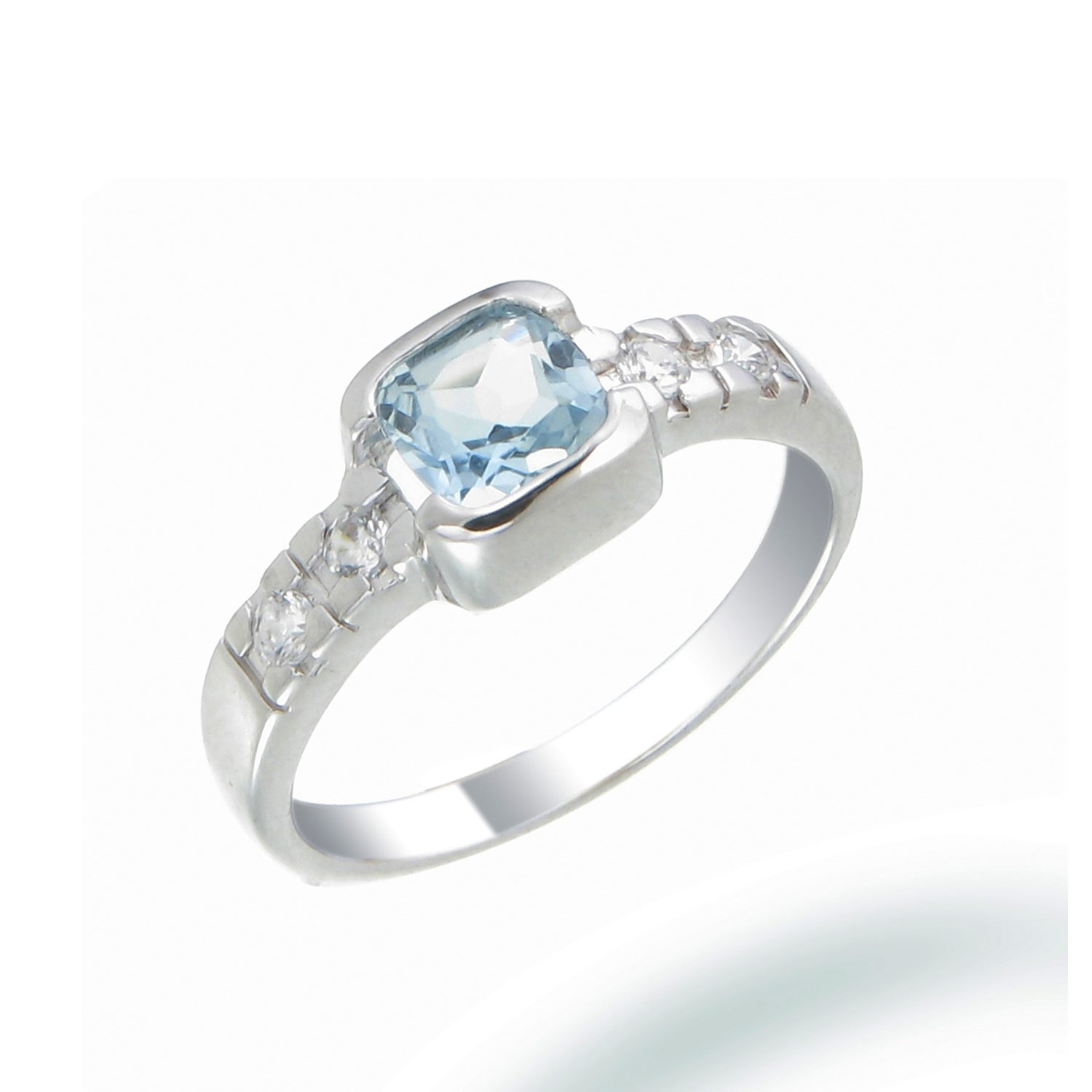 Sterling Silver Blue Topaz Ring 0.80 CT