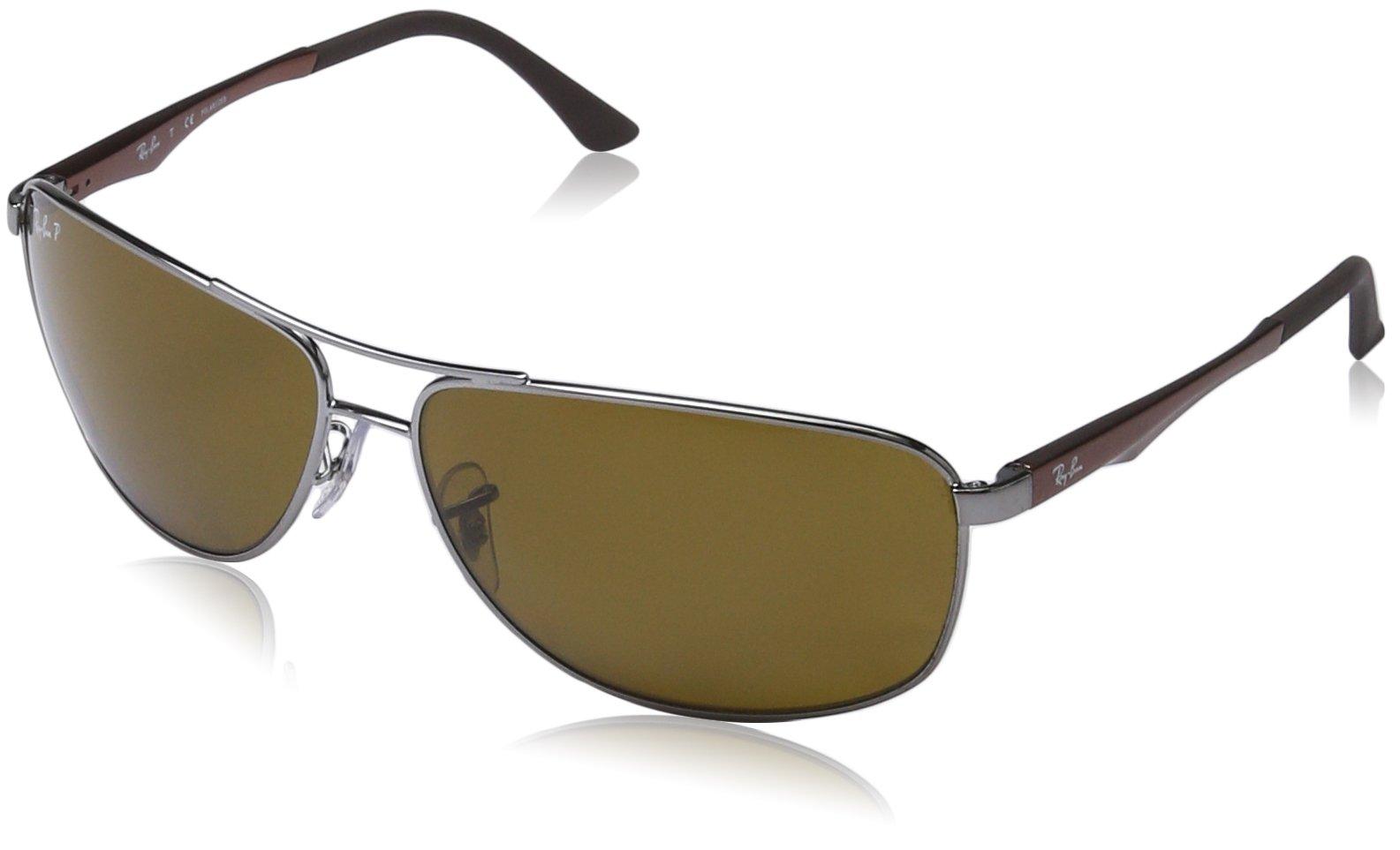 c62fd72887 Ray-Ban Men s 0RB3506 Rectangular Sunglasses Gunmetal POLAR BROWN ...