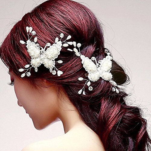 Barrette /à cheveux papillon Diad/ème de mari/ée Perles et strass