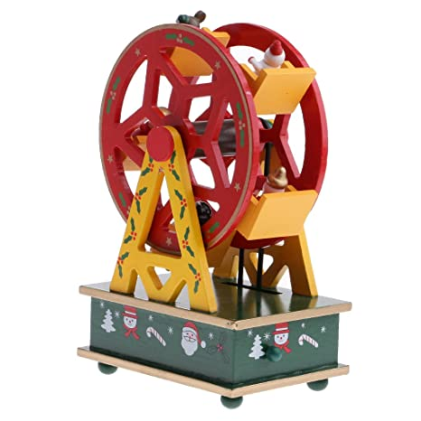 dovewill christmas music box xmas mini ferris wheel musical toy clockwork ornaments party decor xmas sownman