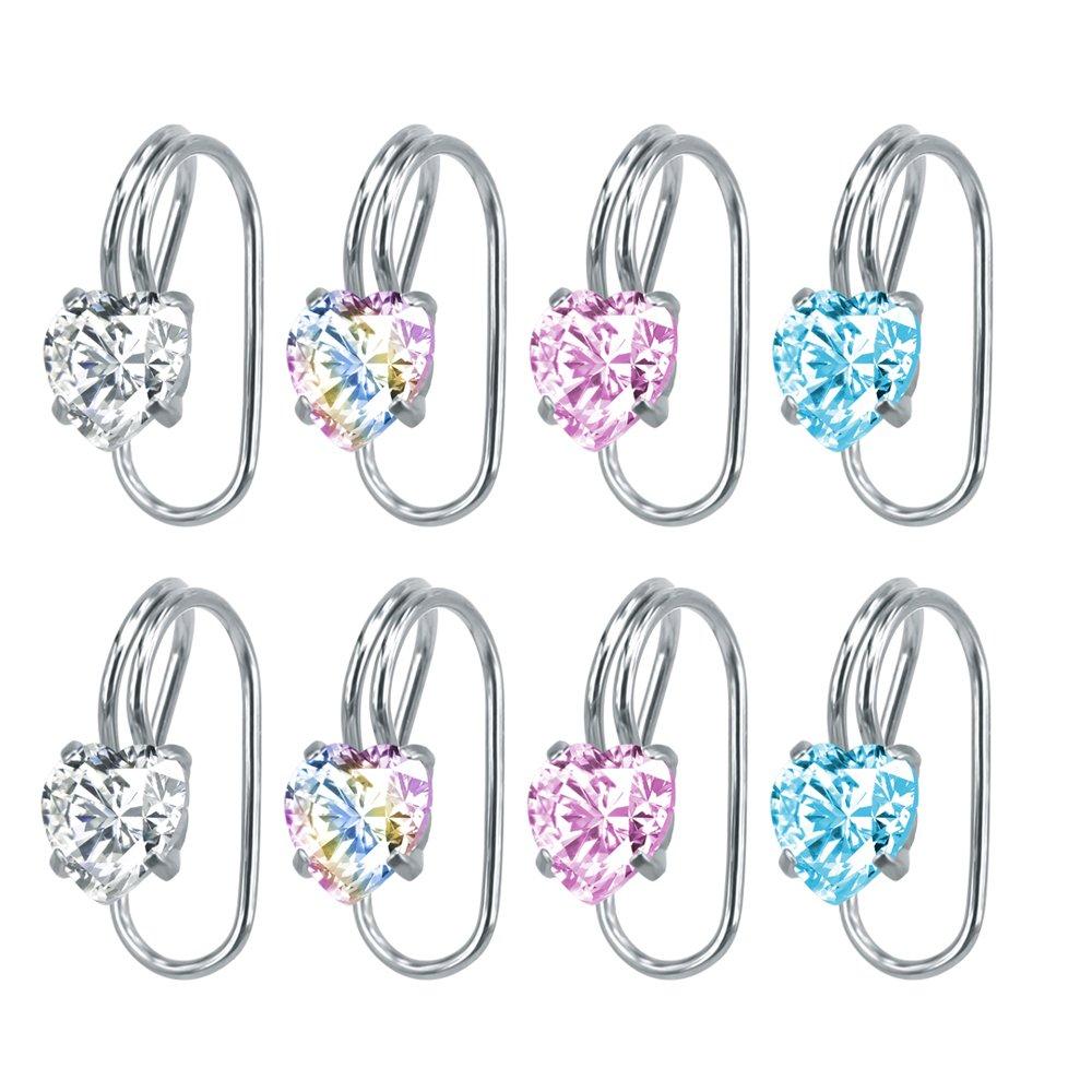 4 Pairs Crystal CZ Ear Cuffs Wraps Stainless Steel Ear Cartilage Clip Non Pierced Earrings For Women (Heart)