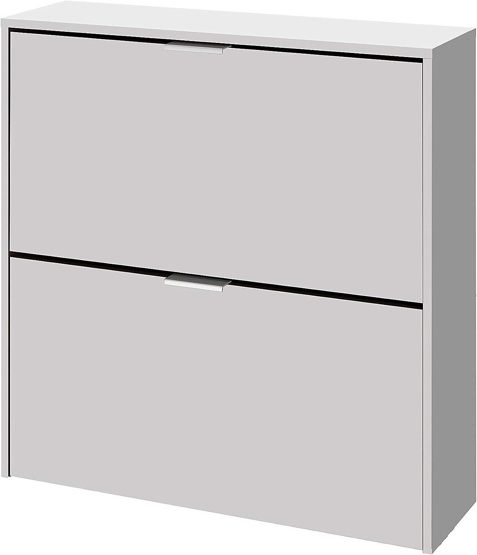 Habitdesign 007873O - Zapatero 2 Puertas, Mueble Zapatero Estrecho Acabado en Color Blanco, Medidas: 75 cm (Largo) x 76 cm (Alto) x 22 cm (Fondo)