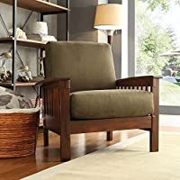 HOME Hills Modern Mission-Style Oak and Olive Upholstered Microfiber Accent Chair Comfortable Living Room Seating