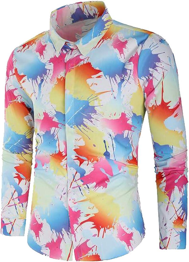 XTX Men Slim Splash Ink Print Button Down Long Sleeve Dress Work Shirt