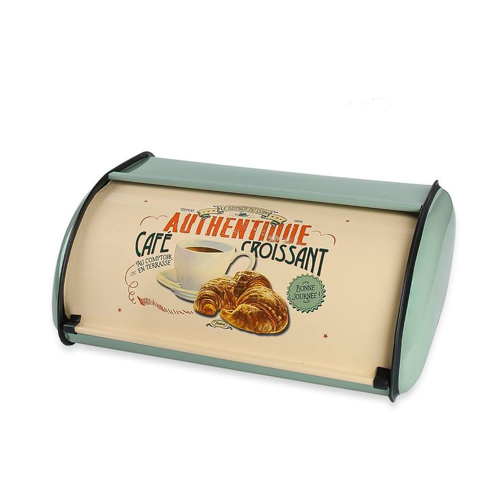 Hot Sales X459 Metal Bread Box/Bin/kitchen Storage Containers/Home KitChen Gifts with Roll Top Lid (light green)