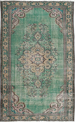 """Ecarpetgallery Hand-knotted Melis Vintage Green Traditional 5'7"""" x 9'1"""" 100% Wool kitchen dining room area rug from eCarpet Gallery"""