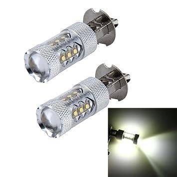 Luces de alta calidad, 2 PCS H3 80W 4800LM 6000K 16 luces de niebla del coche de CREE LED, DC 12-24V: Amazon.es: Hogar